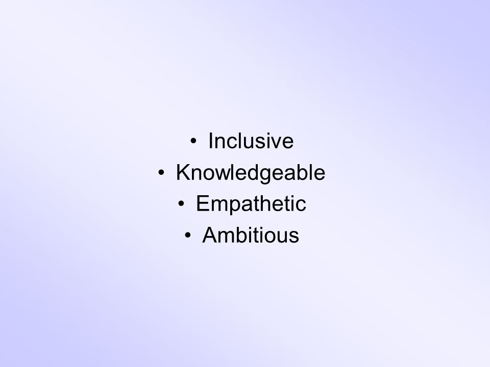 Inclusive Knowledgeable Empathetic Ambitious