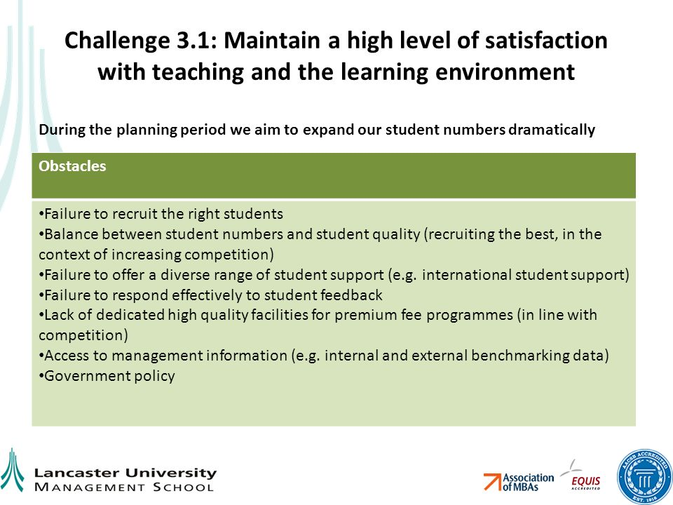 Challenge 3.1: Maintain a high level of satisfaction with teaching and the learning environment Obstacles Failure to recruit the right students Balance between student numbers and student quality (recruiting the best, in the context of increasing competition) Failure to offer a diverse range of student support (e.g.