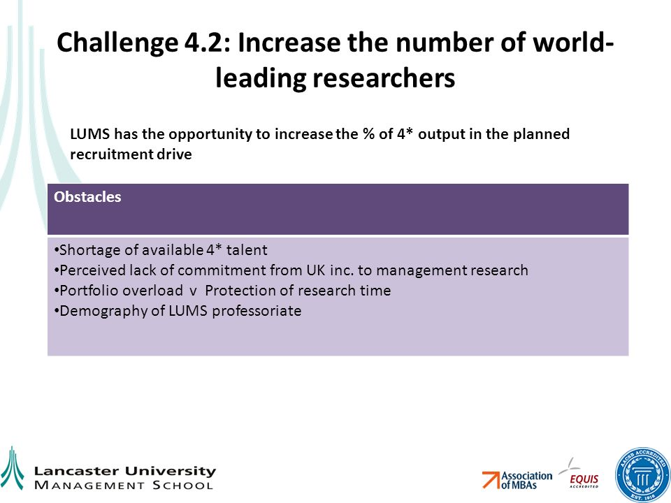 Challenge 4.2: Increase the number of world- leading researchers Obstacles Shortage of available 4* talent Perceived lack of commitment from UK inc.