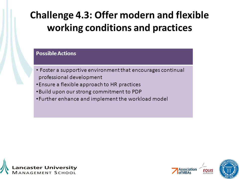 Challenge 4.3: Offer modern and flexible working conditions and practices Possible Actions Foster a supportive environment that encourages continual professional development Ensure a flexible approach to HR practices Build upon our strong commitment to PDP Further enhance and implement the workload model