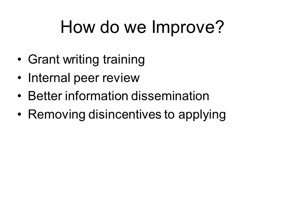 How do we Improve.