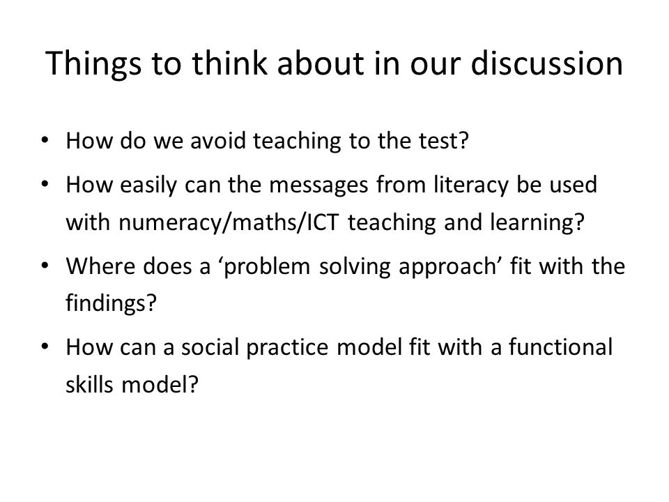 Things to think about in our discussion How do we avoid teaching to the test.