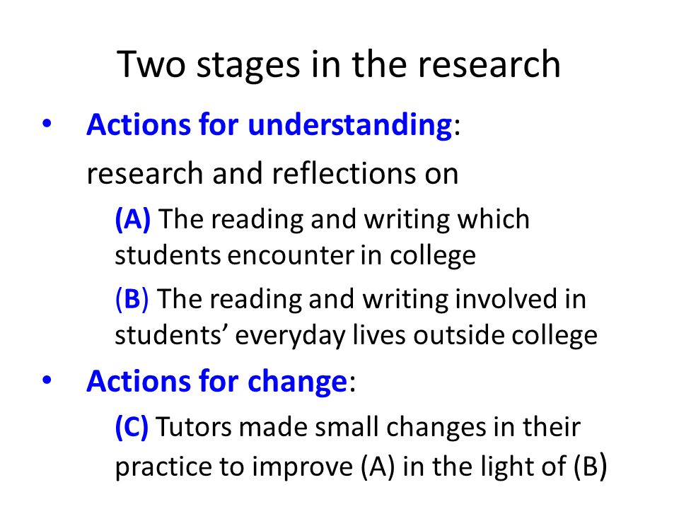 Two stages in the research Actions for understanding: research and reflections on (A) The reading and writing which students encounter in college (B) The reading and writing involved in students everyday lives outside college Actions for change: (C) Tutors made small changes in their practice to improve (A) in the light of (B )