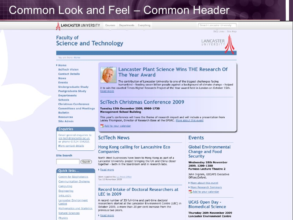 Common Look and Feel – Common Header