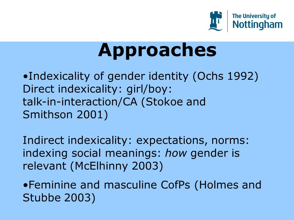 Approaches Indexicality of gender identity (Ochs 1992) Direct indexicality: girl/boy: talk-in-interaction/CA (Stokoe and Smithson 2001) Indirect indexicality: expectations, norms: indexing social meanings: how gender is relevant (McElhinny 2003) Feminine and masculine CofPs (Holmes and Stubbe 2003)