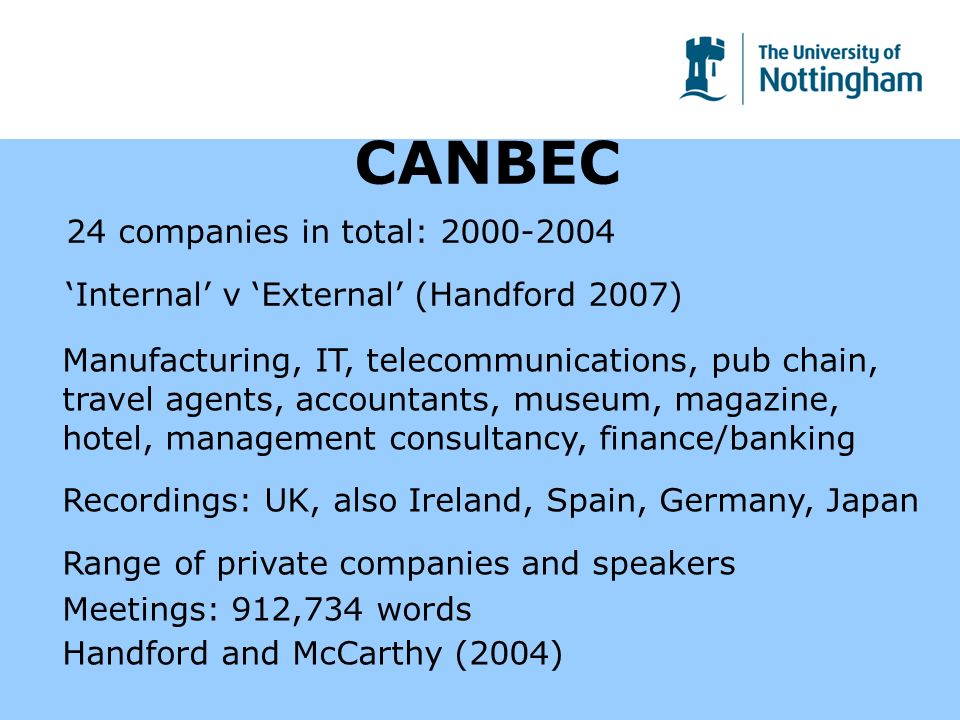 CANBEC 24 companies in total: Internal v External (Handford 2007) Manufacturing, IT, telecommunications, pub chain, travel agents, accountants, museum, magazine, hotel, management consultancy, finance/banking Recordings: UK, also Ireland, Spain, Germany, Japan Range of private companies and speakers Meetings: 912,734 words Handford and McCarthy (2004)