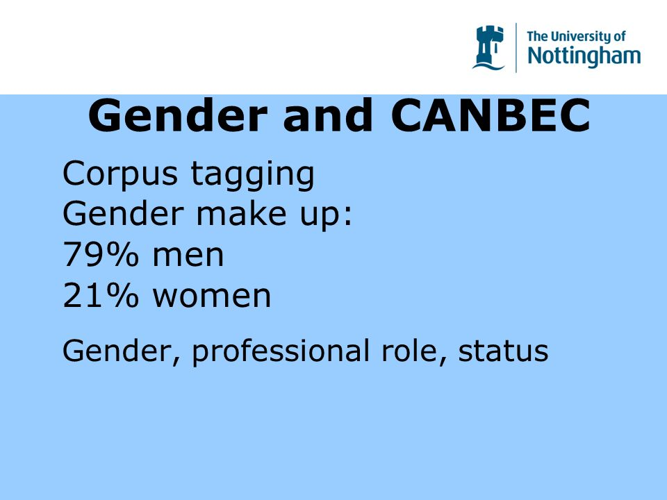 Gender and CANBEC Corpus tagging Gender make up: 79% men 21% women Gender, professional role, status