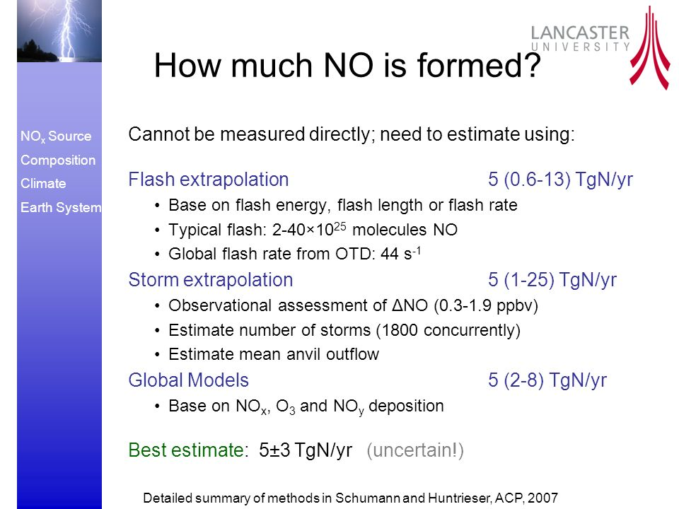 NO x Source Composition Climate Earth System How much NO is formed.