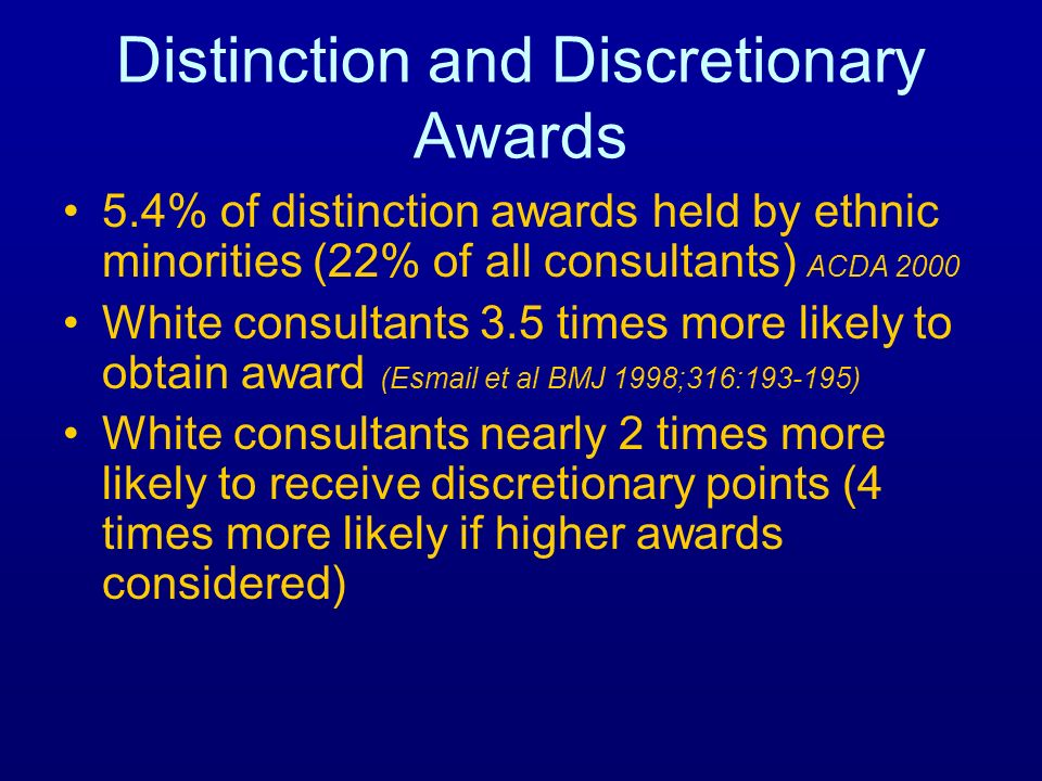 Distinction and Discretionary Awards 5.4% of distinction awards held by ethnic minorities (22% of all consultants) ACDA 2000 White consultants 3.5 tim