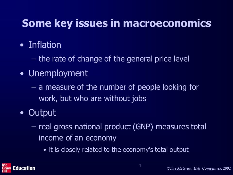 © The McGraw-Hill Companies, 2002 2 More key issues in macroeconomics Economic growth –increases in real GNP, an indication of the expansion of the economys total output Macroeconomic policy –a variety of policy measures used by the government to affect the overall performance of the economy