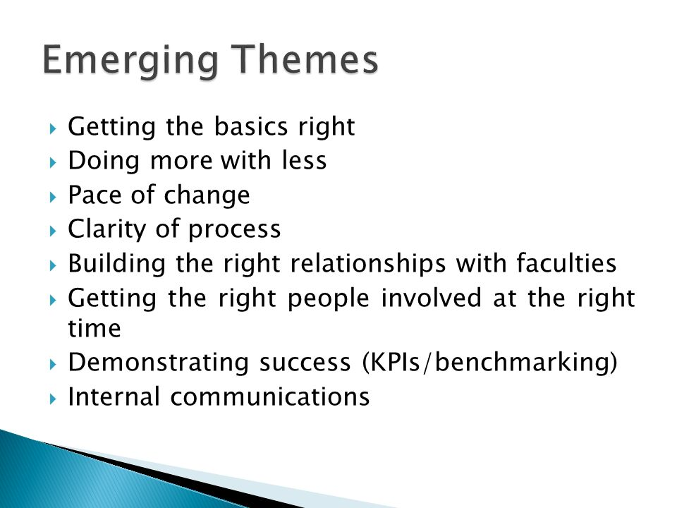 Getting the basics right Doing more with less Pace of change Clarity of process Building the right relationships with faculties Getting the right peop