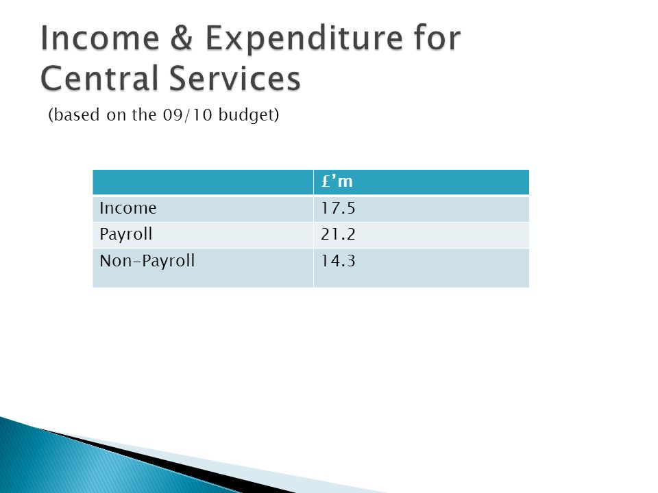 £m Income17.5 Payroll21.2 Non-Payroll14.3 (based on the 09/10 budget)