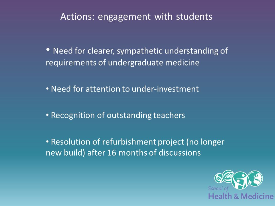 Actions: engagement with students Need for clearer, sympathetic understanding of requirements of undergraduate medicine Need for attention to under-investment Recognition of outstanding teachers Resolution of refurbishment project (no longer new build) after 16 months of discussions