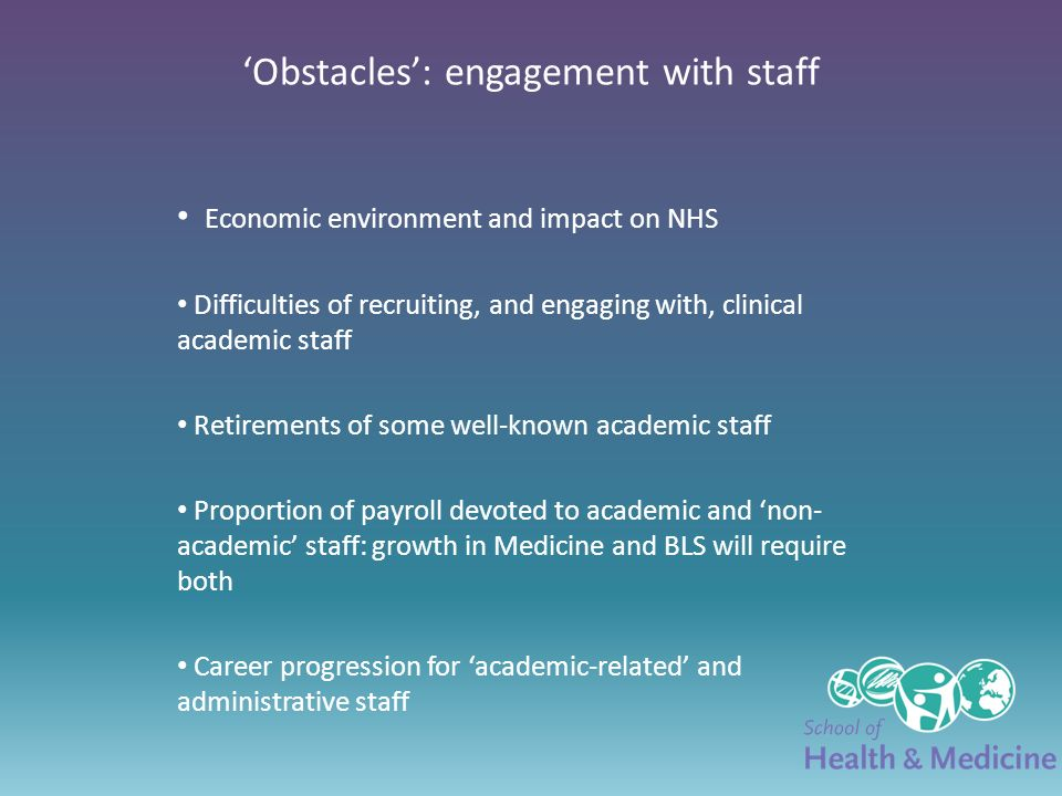 Obstacles: engagement with staff Economic environment and impact on NHS Difficulties of recruiting, and engaging with, clinical academic staff Retirements of some well-known academic staff Proportion of payroll devoted to academic and non- academic staff: growth in Medicine and BLS will require both Career progression for academic-related and administrative staff