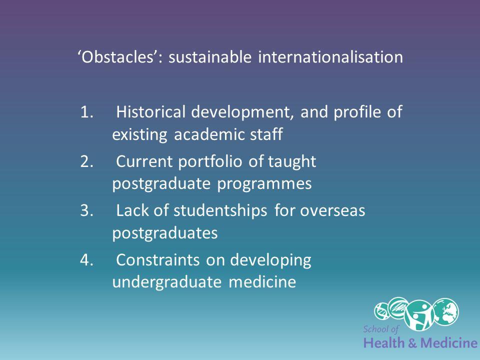 Obstacles: sustainable internationalisation 1. Historical development, and profile of existing academic staff 2. Current portfolio of taught postgradu