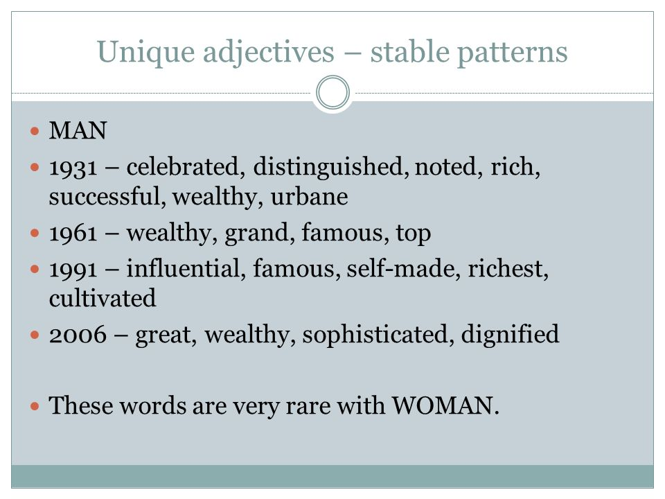 Unique adjectives – stable patterns MAN 1931 – celebrated, distinguished, noted, rich, successful, wealthy, urbane 1961 – wealthy, grand, famous, top 1991 – influential, famous, self-made, richest, cultivated 2006 – great, wealthy, sophisticated, dignified These words are very rare with WOMAN.