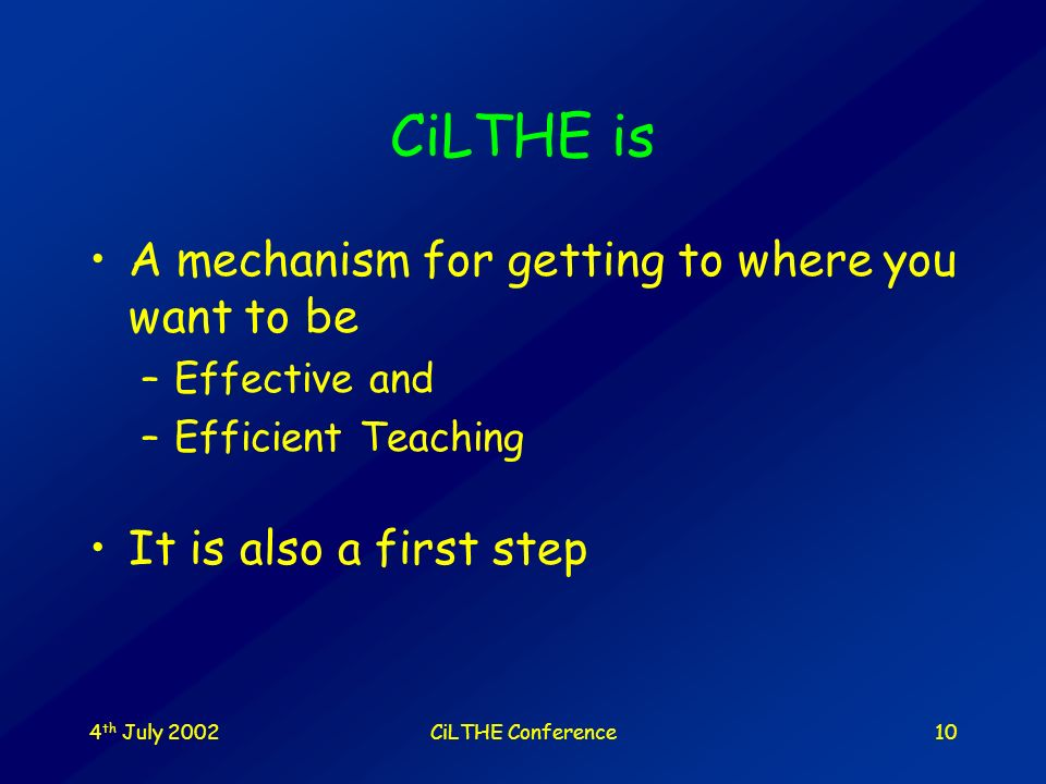 4 th July 2002CiLTHE Conference9 Gleischer formula Change requires A vision of where you want to be A mechanism for getting there A first step Multipl