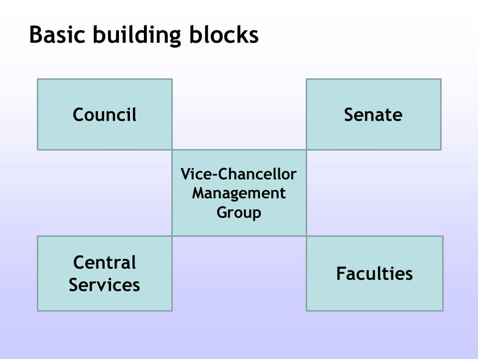 Basic building blocks Council Vice-Chancellor Management Group Central Services Senate Faculties