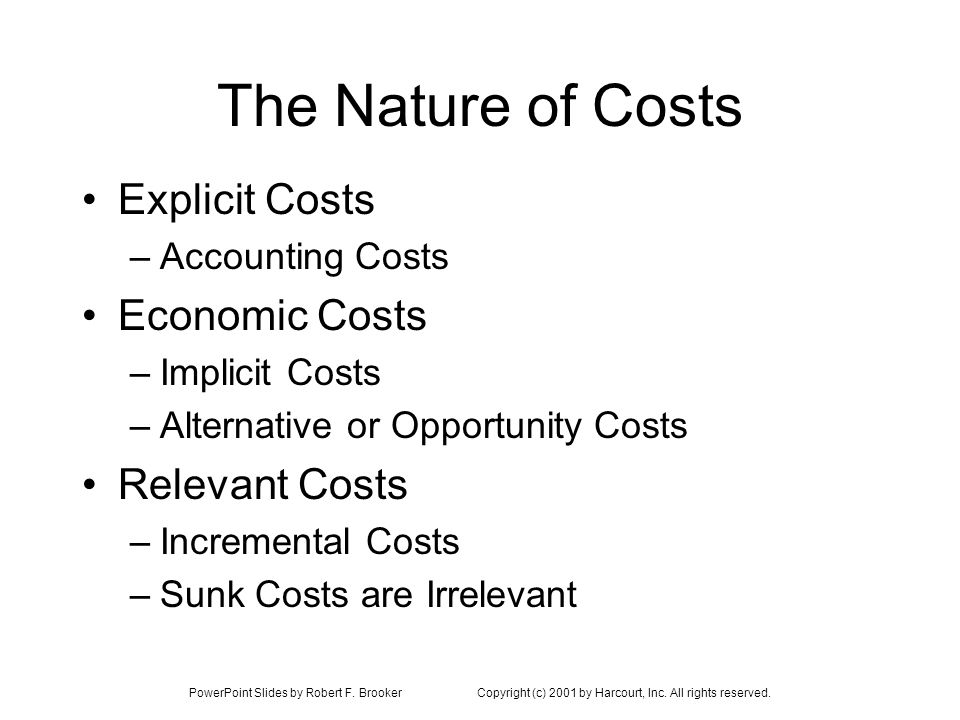 PowerPoint Slides by Robert F. BrookerCopyright (c) 2001 by Harcourt, Inc. All rights reserved. The Nature of Costs Explicit Costs –Accounting Costs E