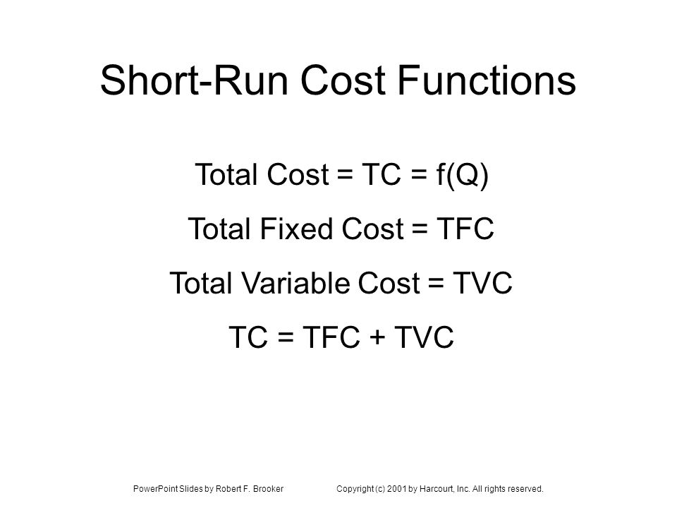 PowerPoint Slides by Robert F. BrookerCopyright (c) 2001 by Harcourt, Inc. All rights reserved. Short-Run Cost Functions Total Cost = TC = f(Q) Total