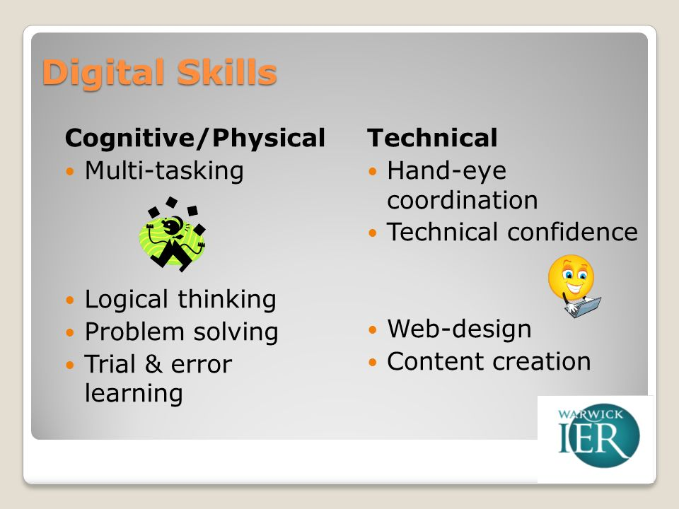 Digital Skills Cognitive/Physical Multi-tasking Logical thinking Problem solving Trial & error learning Technical Hand-eye coordination Technical confidence Web-design Content creation