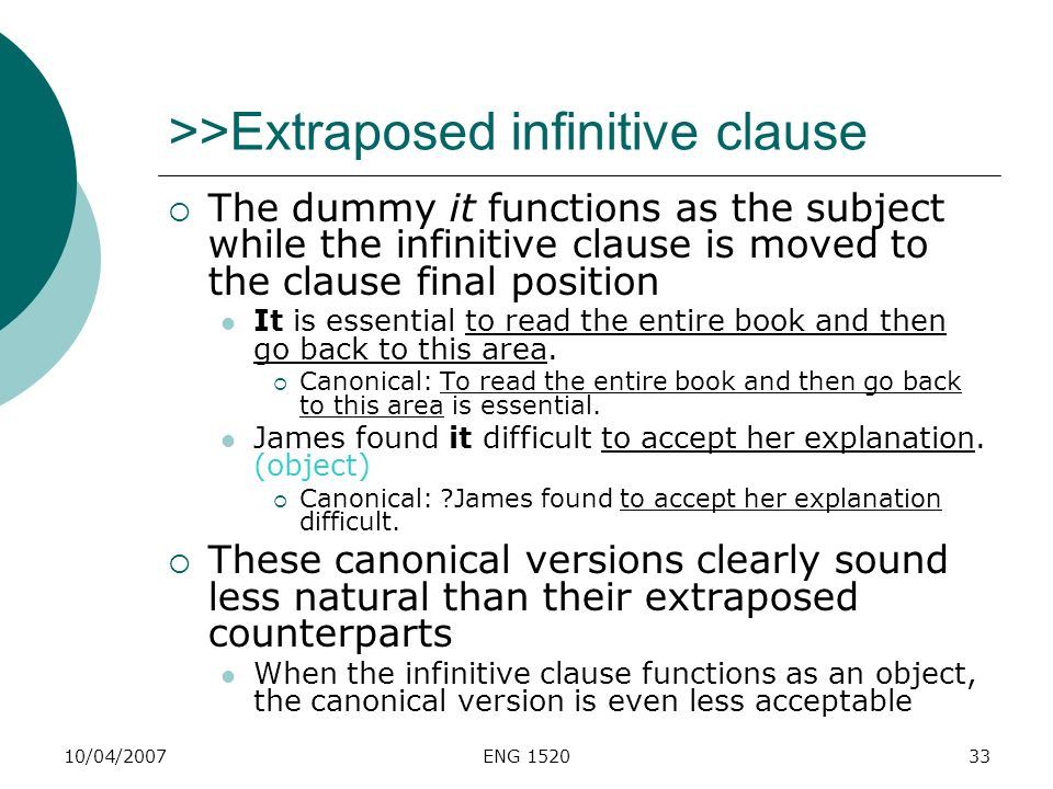 10/04/2007ENG 152033 >>Extraposed infinitive clause The dummy it functions as the subject while the infinitive clause is moved to the clause final pos