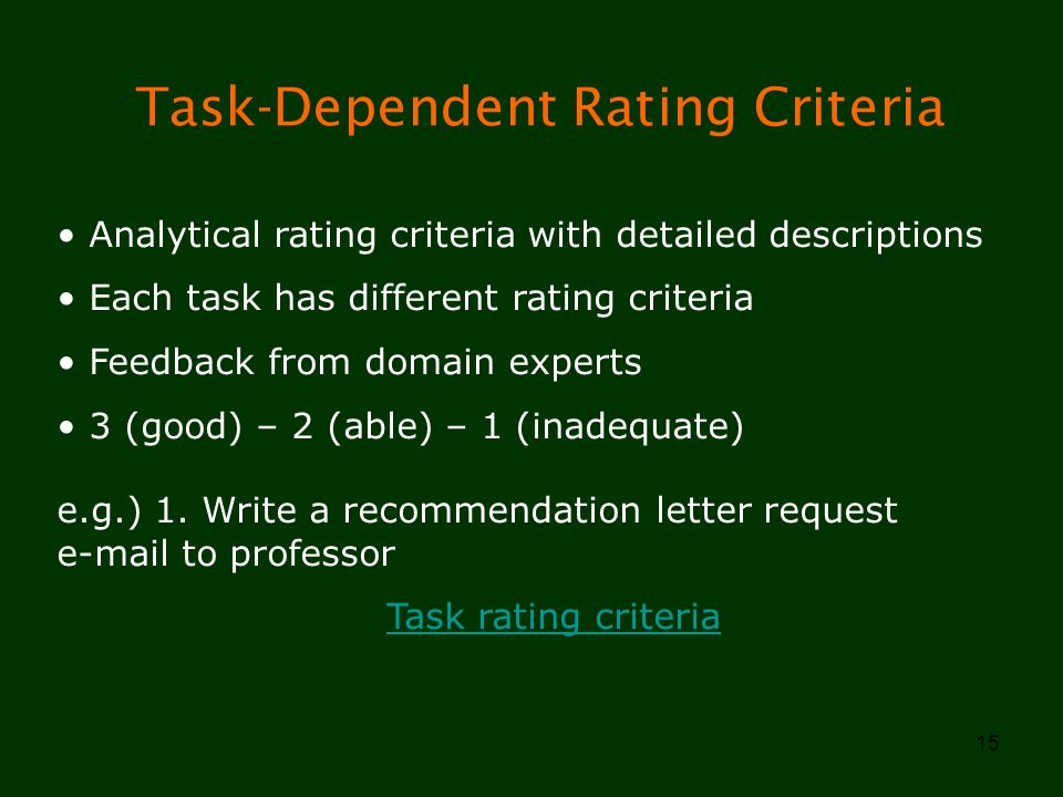 15 Task-Dependent Rating Criteria Analytical rating criteria with detailed descriptions Each task has different rating criteria Feedback from domain e