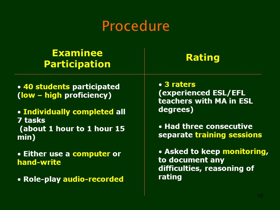 16 Procedure Examinee Participation Rating 40 students participated (low – high proficiency) Individually completed all 7 tasks (about 1 hour to 1 hou