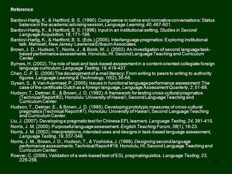 20 Reference Bardovi-Harlig, K., & Hartford, B. S. (1990). Congruence in native and nonnative conversations: Status balance in the academic advising s