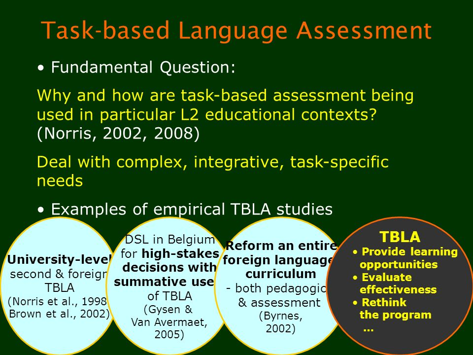 4 Task-based Language Assessment Fundamental Question: Why and how are task-based assessment being used in particular L2 educational contexts? (Norris