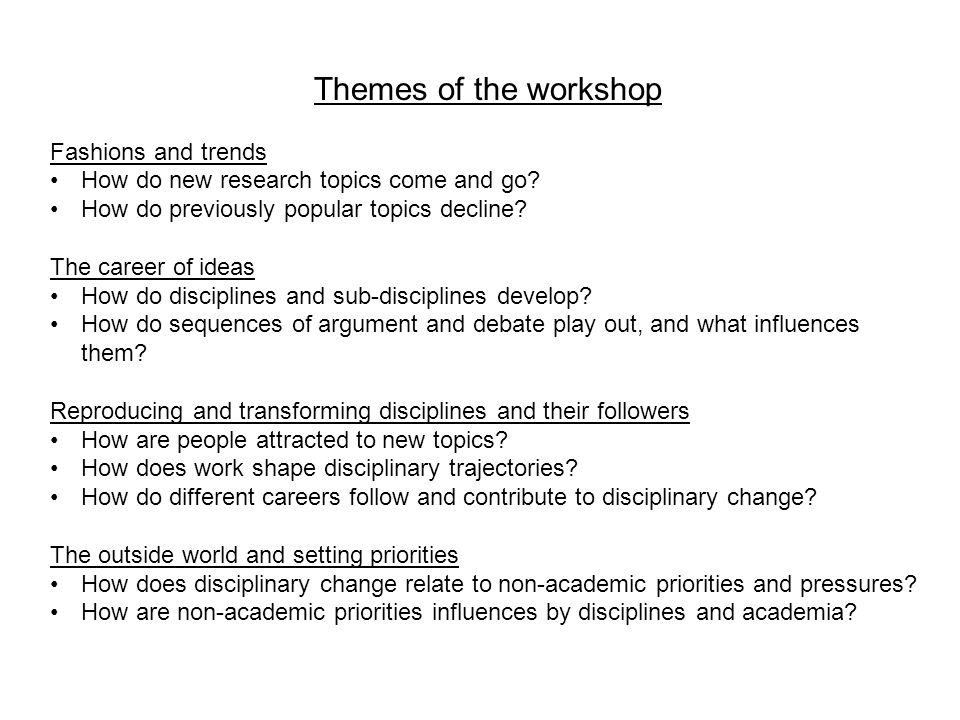 Themes of the workshop Fashions and trends How do new research topics come and go.