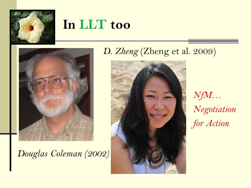 In LLT too D. Zheng (Zheng et al. 2009) Douglas Coleman (2002) NfM… Negotiation for Action