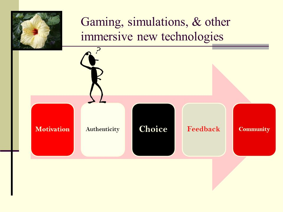 Gaming, simulations, & other immersive new technologies Motivation Authenticity Choice Feedback Community