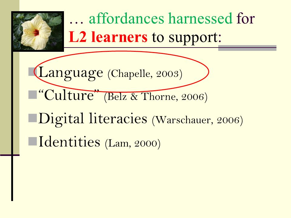 … affordances harnessed for L2 learners to support: Language (Chapelle, 2003) Culture (Belz & Thorne, 2006) Digital literacies (Warschauer, 2006) Iden