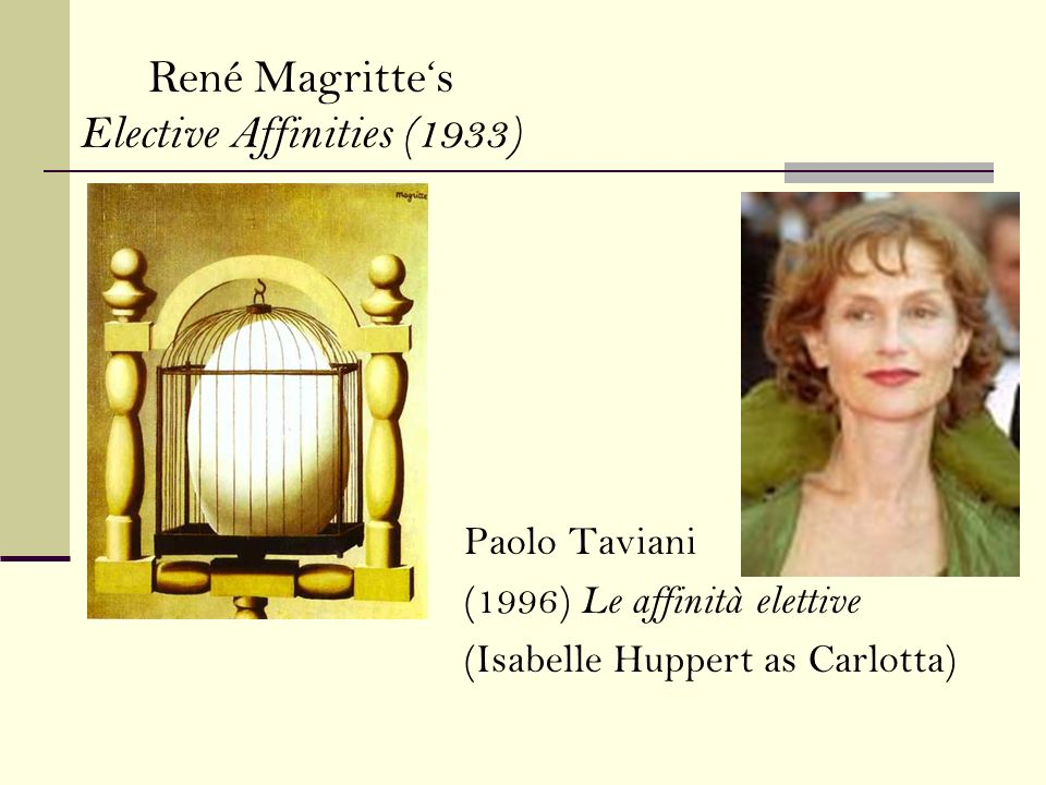 Paolo Taviani (1996) Le affinità elettive (Isabelle Huppert as Carlotta) René Magrittes Elective Affinities (1933)