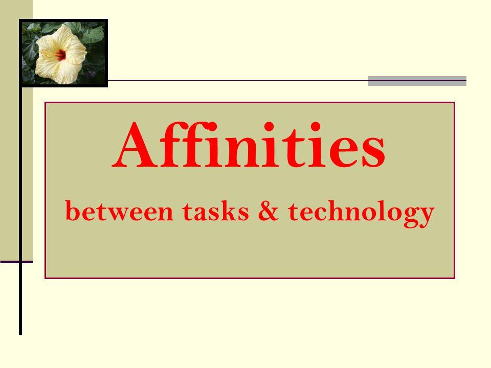 Affinities between tasks & technology