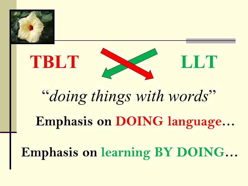 doing things with words LLTTBLT Emphasis on DOING language… Emphasis on learning BY DOING…