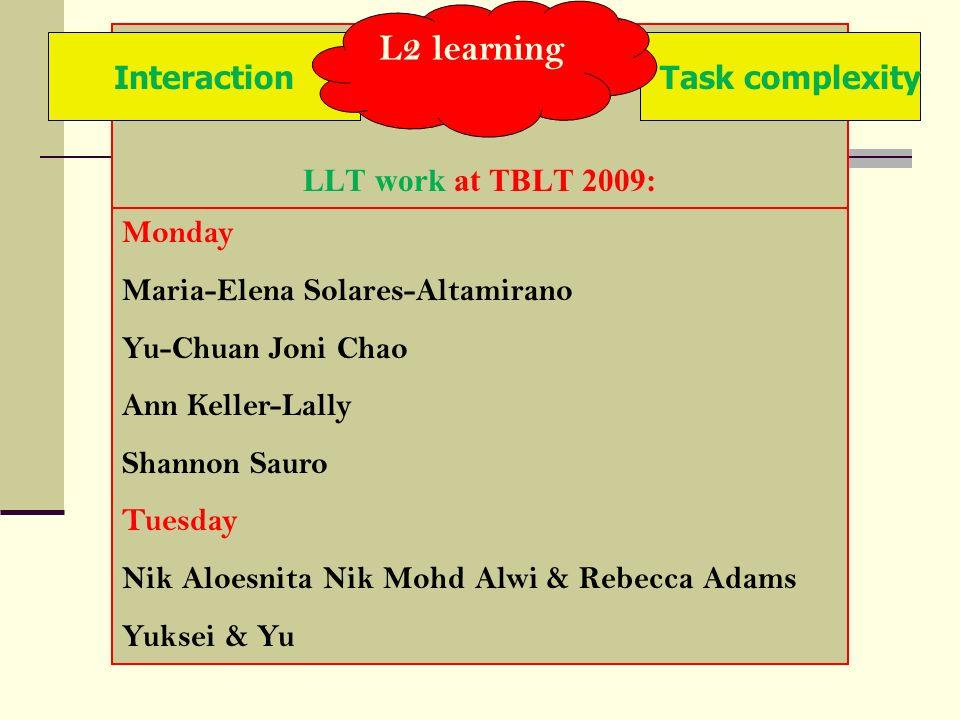 LLT work at TBLT 2009: Interaction Monday Maria-Elena Solares-Altamirano Yu-Chuan Joni Chao Ann Keller-Lally Shannon Sauro Tuesday Nik Aloesnita Nik M