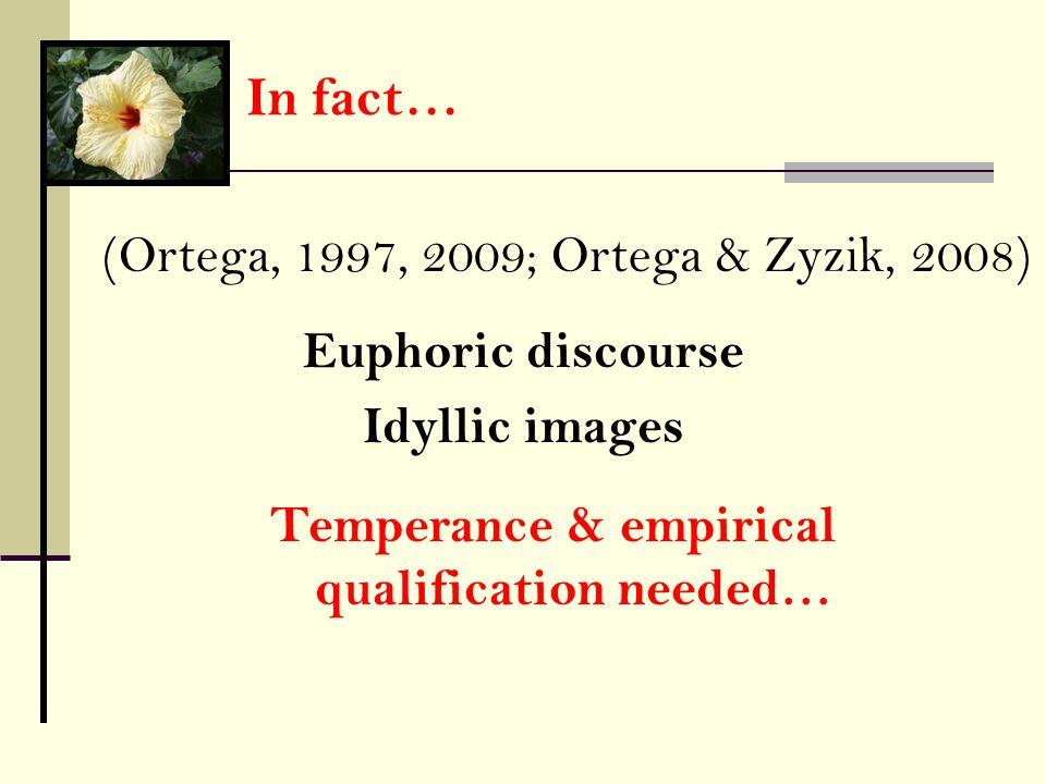In fact… (Ortega, 1997, 2009; Ortega & Zyzik, 2008) Temperance & empirical qualification needed… Euphoric discourse Idyllic images