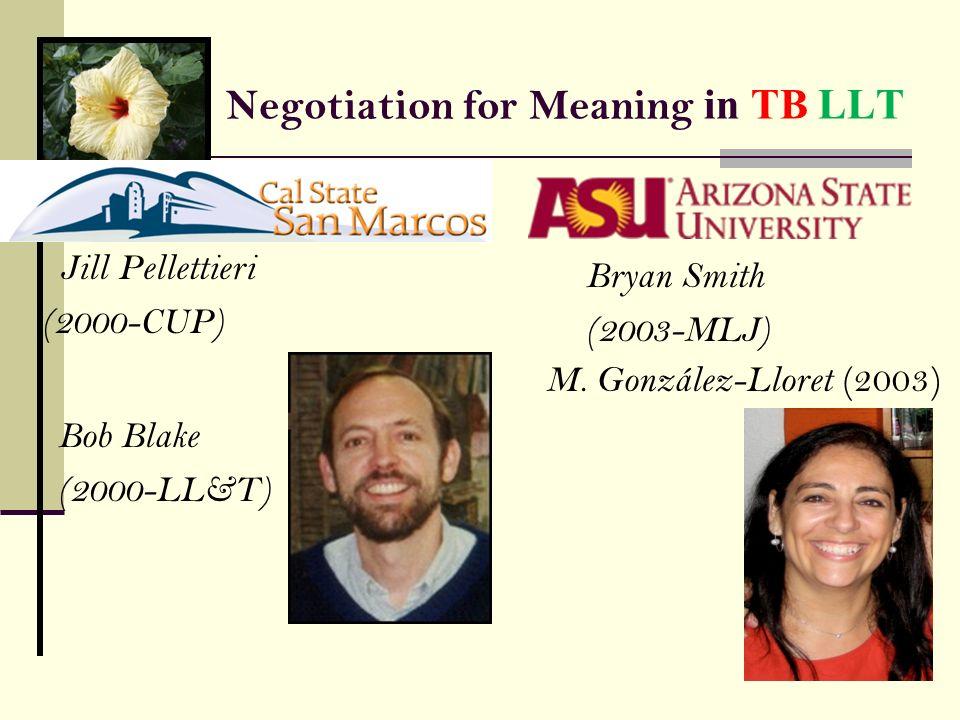 Negotiation for Meaning in TB LLT Jill Pellettieri (2000-CUP) Bob Blake (2000-LL&T) Bryan Smith (2003-MLJ) M. González-Lloret (2003)