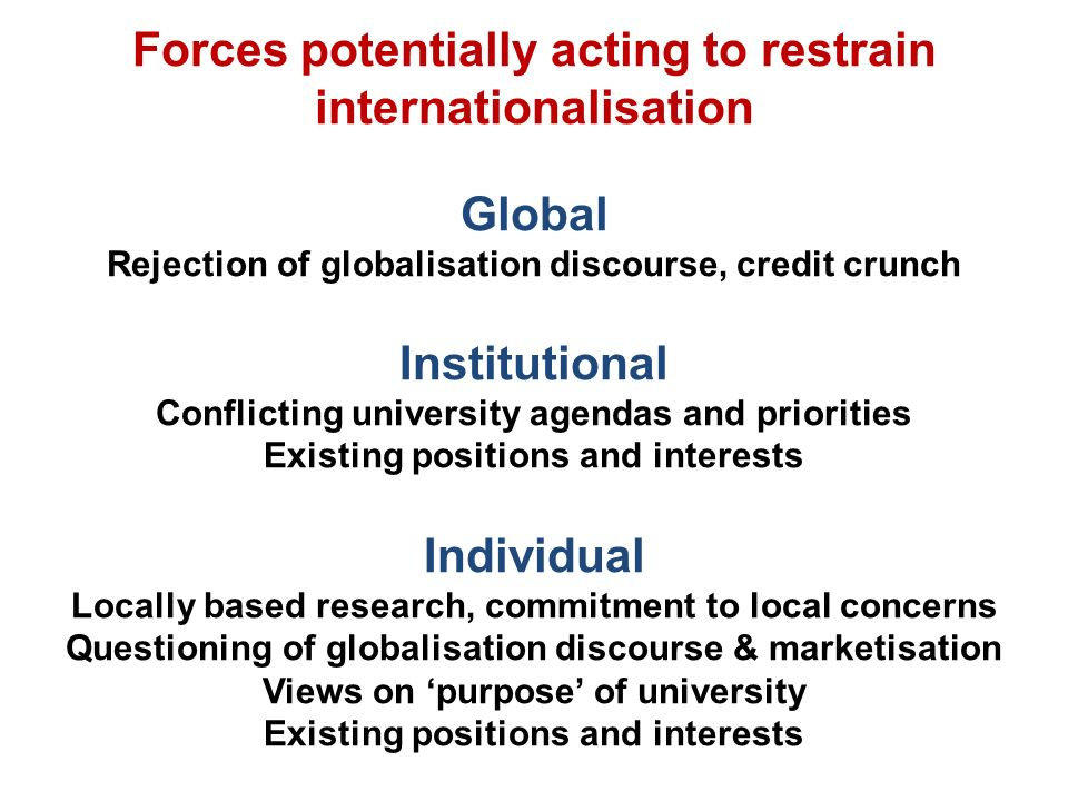 Forces potentially acting to restrain internationalisation Global Rejection of globalisation discourse, credit crunch Institutional Conflicting university agendas and priorities Existing positions and interests Individual Locally based research, commitment to local concerns Questioning of globalisation discourse & marketisation Views on purpose of university Existing positions and interests