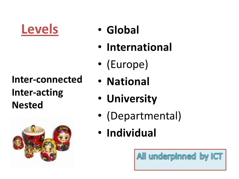 Globalisation – summary notes Flows, Intensity, Speed Homogenisation & localisation Economics (neo-liberal) as major driver Knowledge Economy, Competition, GATs Education: a product and part of globalising process WW educational (credentialing) system, English, Staff & Student mobility Global challenges Global research collaboration