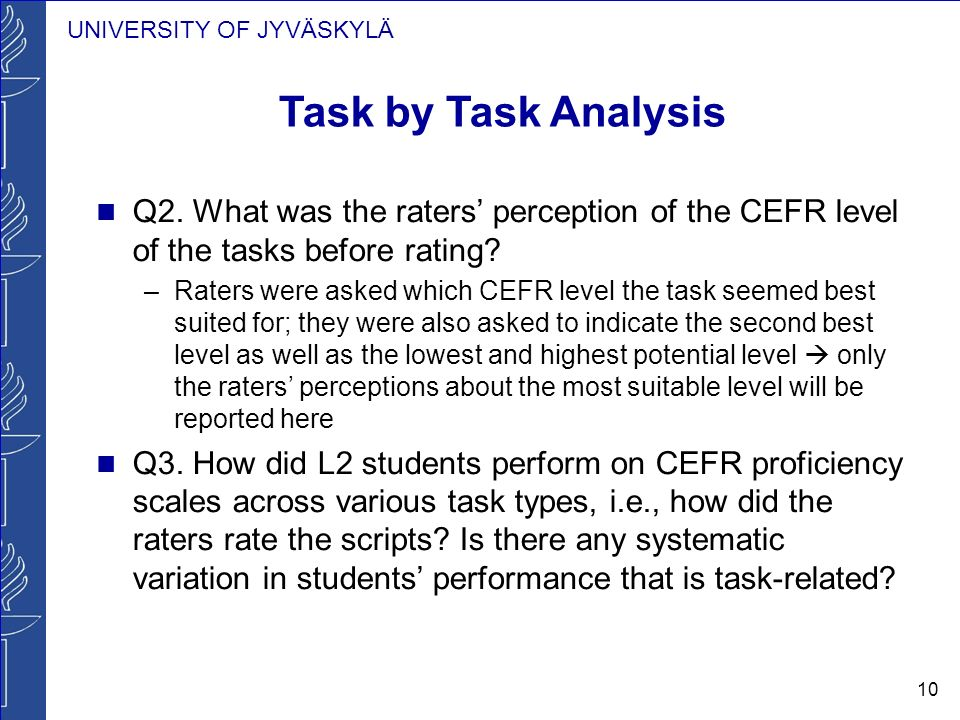 UNIVERSITY OF JYVÄSKYLÄ 10 Task by Task Analysis Q2. What was the raters perception of the CEFR level of the tasks before rating? –Raters were asked w