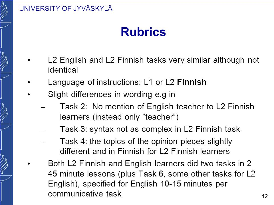 UNIVERSITY OF JYVÄSKYLÄ 12 Rubrics L2 English and L2 Finnish tasks very similar although not identical Language of instructions: L1 or L2 Finnish Slight differences in wording e.g in – Task 2: No mention of English teacher to L2 Finnish learners (instead only teacher) – Task 3: syntax not as complex in L2 Finnish task – Task 4: the topics of the opinion pieces slightly different and in Finnish for L2 Finnish learners Both L2 Finnish and English learners did two tasks in 2 45 minute lessons (plus Task 6, some other tasks for L2 English), specified for English minutes per communicative task