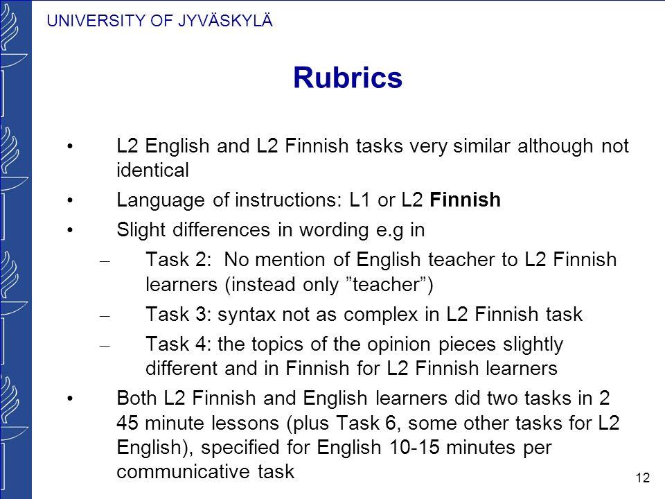 UNIVERSITY OF JYVÄSKYLÄ 12 Rubrics L2 English and L2 Finnish tasks very similar although not identical Language of instructions: L1 or L2 Finnish Slig