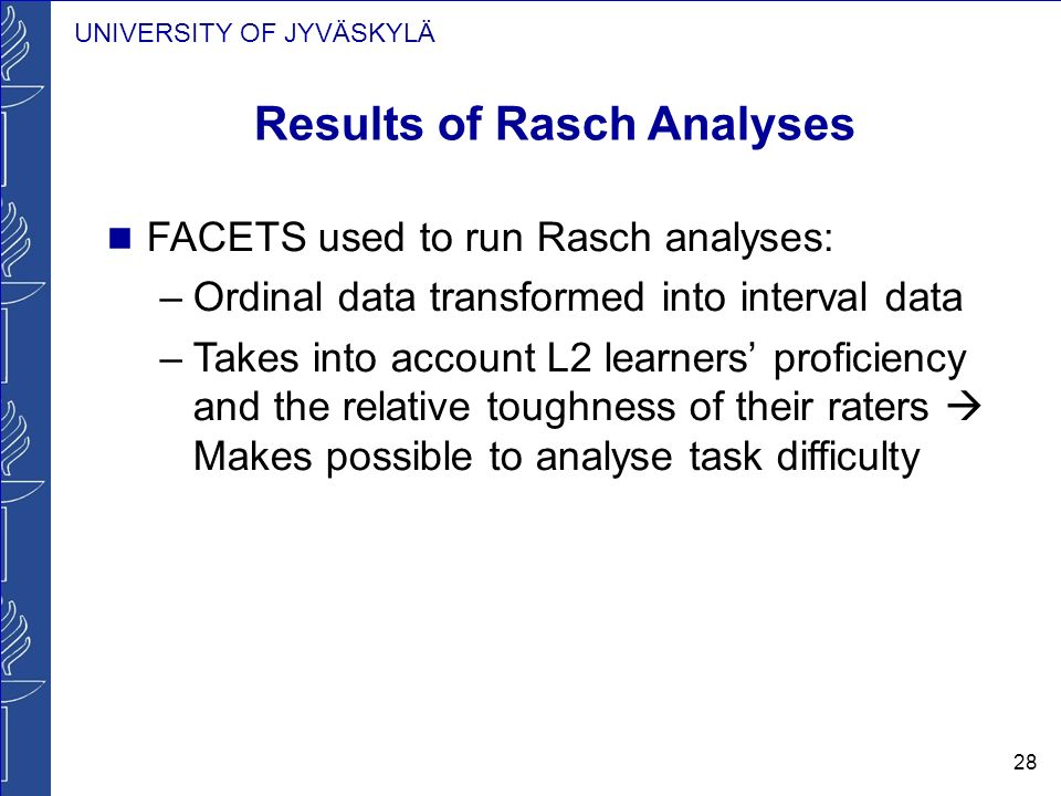 UNIVERSITY OF JYVÄSKYLÄ 28 Results of Rasch Analyses FACETS used to run Rasch analyses: –Ordinal data transformed into interval data –Takes into accou