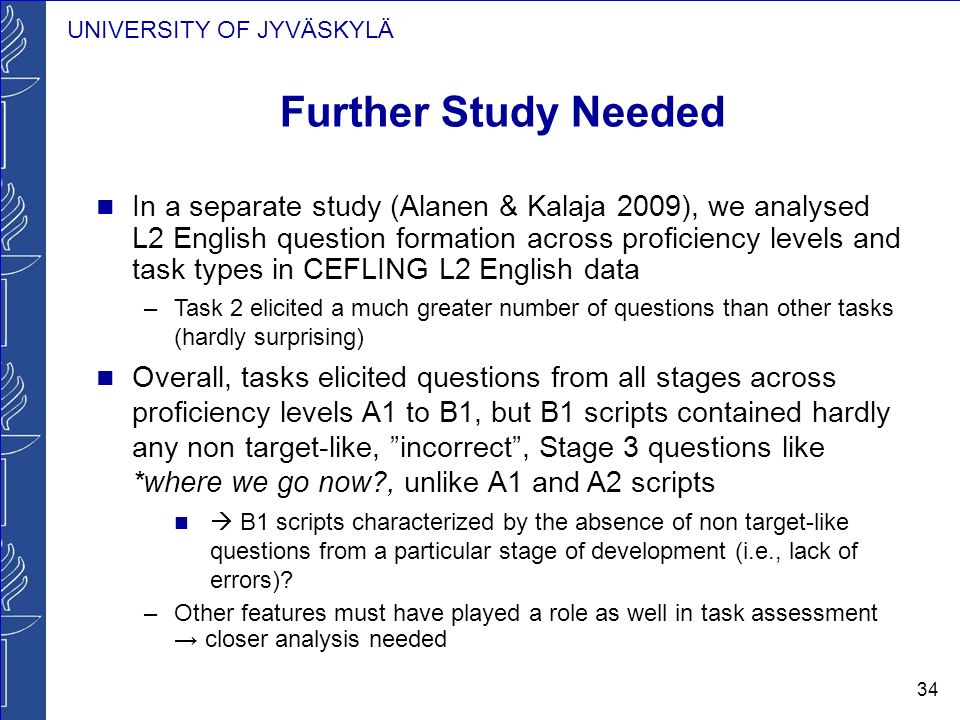 UNIVERSITY OF JYVÄSKYLÄ 34 Further Study Needed In a separate study (Alanen & Kalaja 2009), we analysed L2 English question formation across proficien