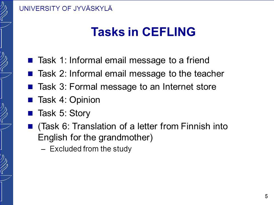 UNIVERSITY OF JYVÄSKYLÄ 5 Tasks in CEFLING Task 1: Informal email message to a friend Task 2: Informal email message to the teacher Task 3: Formal mes