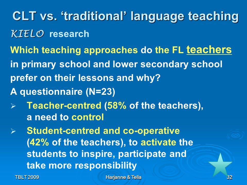 32 TBLT 2009 Harjanne & Tella 32 CLT vs. traditional language teaching KIELO KIELO research Which teaching approaches do the FL teachers in primary sc