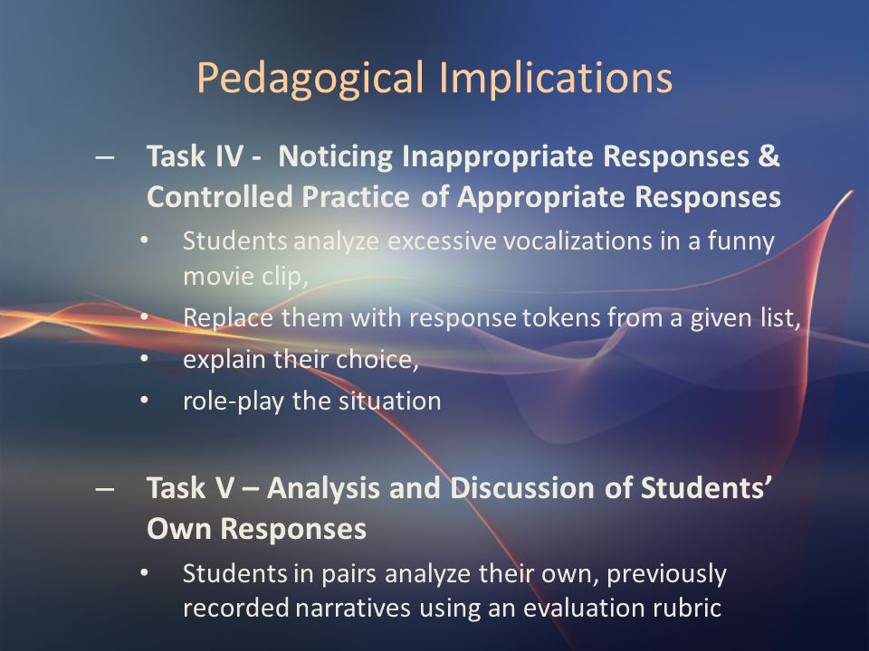 Pedagogical Implications – Task IV - Noticing Inappropriate Responses & Controlled Practice of Appropriate Responses Students analyze excessive vocali